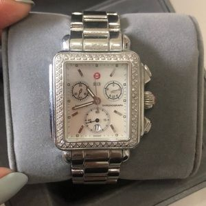 Michelle watch with diamond bezel
